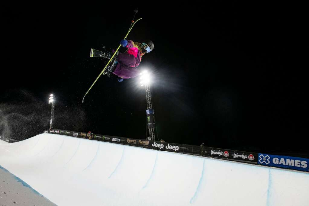 American freestyle skier Annalisa Drew airs out of the pipe during an evening practice for the 2021 X Games Aspen at Buttermilk on Thursday, Jan. 28, 2021. (Kelsey Brunner/The Aspen Times)