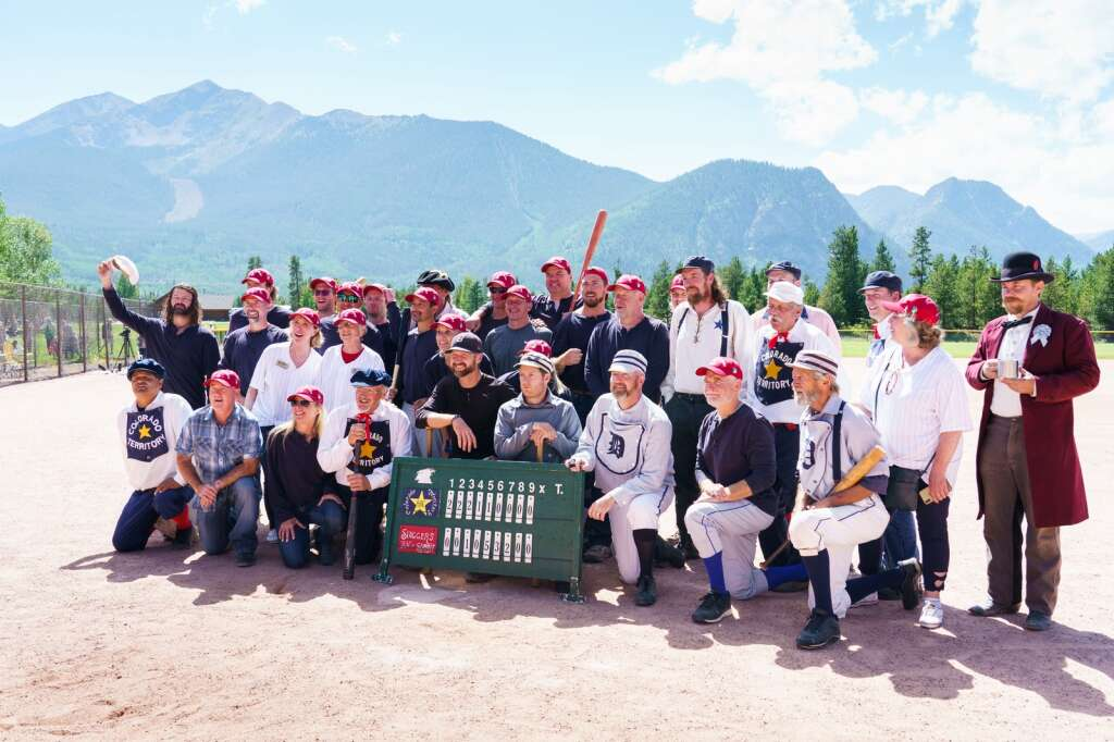Players come together to pose for a photo after Sunday's second annual Summit Historical Society Vintage Base Ball Game featuring the Summit Sluggers vs. the Star Baseball Club of the Colorado Territory at Frisco Adventure Park in Frisco. | Photo by John Hanson