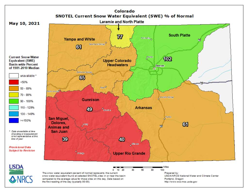 A map shows current levels of snow-water equivalent in Colorado's river basins compared with historical averages.   Map from the U.S Department of Agriculture's Natural Resources Conservation Service