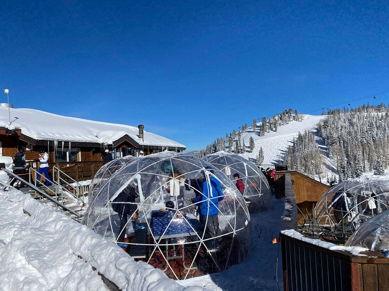 Dome seating on the deck at Bonnie's on Aspen Mountain this ski season.