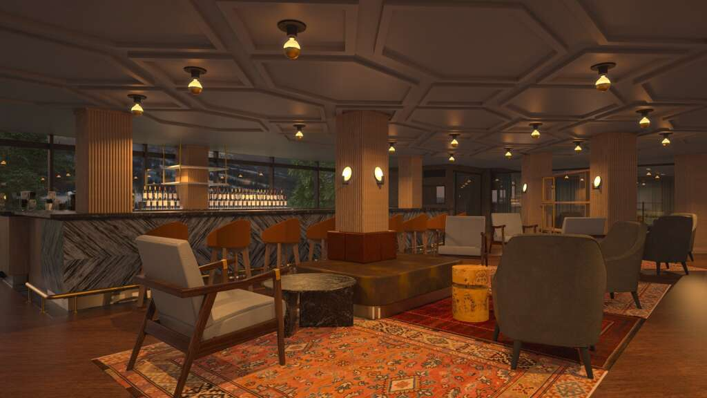 A rendering shows the interior of the lounge at Stark's Alpine Grill, a new restaurant that will open this winter at Viewline Resort Snowmass. | UR Studio/Courtesy image