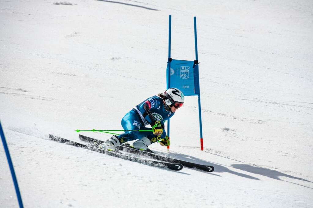 Aspen local alpine skier Bridger Gile turns around a gate during the second run of the U.S. Alpine Men's Giant Slalom Championships at Aspen Highlands on Tuesday, April 6, 2021. Gile finished in third place. (Kelsey Brunner/The Aspen Times)