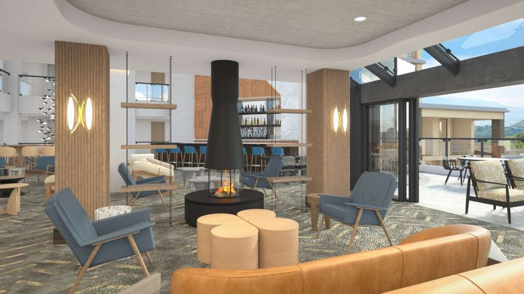 A rendering shows the renovated interior of the lobby at Viewline Resort Snowmass, slated to open open this December. | UR Studio/Courtesy image