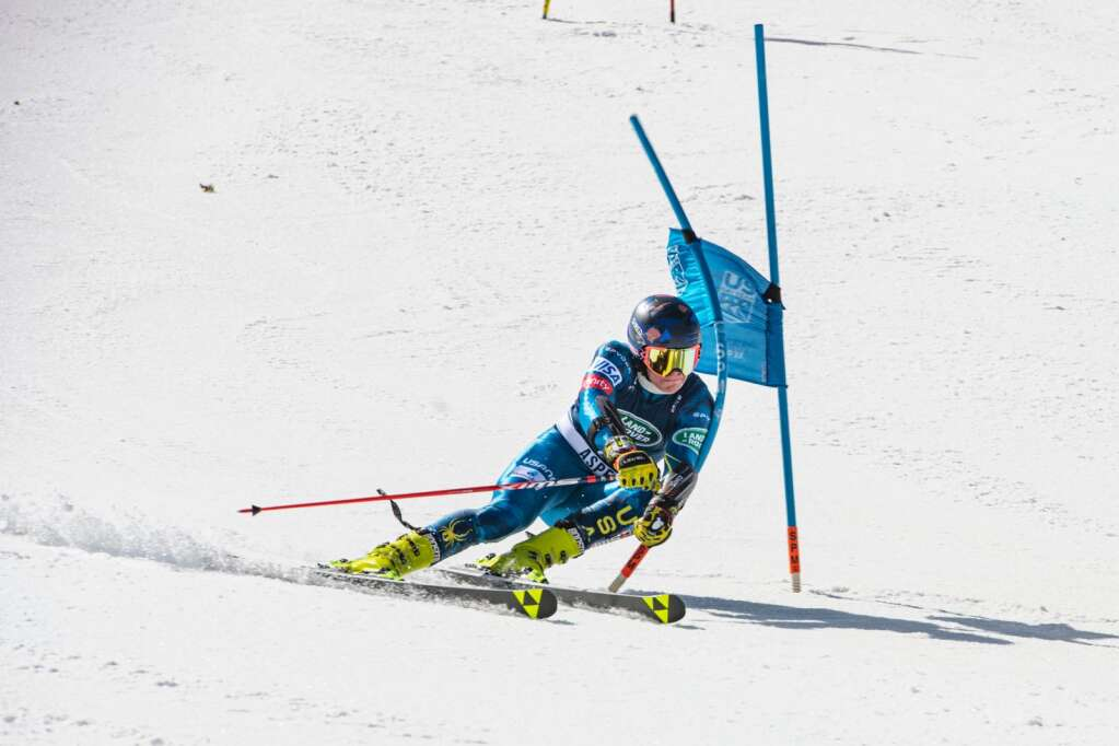 American alpine skier Trent Pennington from Florida turns around a gate during the U.S. Alpine Men's Giant Slalom Championships at Aspen Highlands on Tuesday, April 6, 2021. (Kelsey Brunner/The Aspen Times)