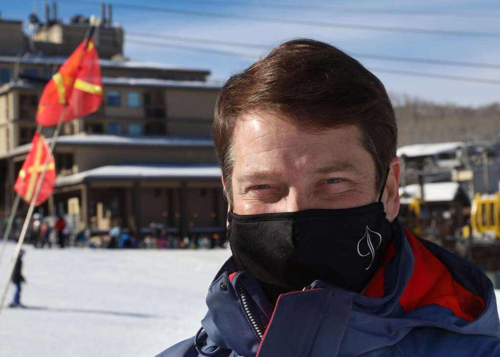 Andy Elliott, the lift operations manager for the Snowmass Ski Area, poses for a photo on Thursday, Dec. 31, 2020, on Fanny Hill. (Photo by Austin Colbert/The Aspen Times)