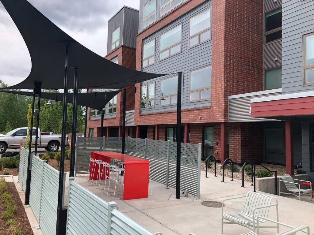 The south entrance to Aspen Skiing Co.'s new apartments in Willits feature a shaded patio. Scott Condon/The Aspen Times