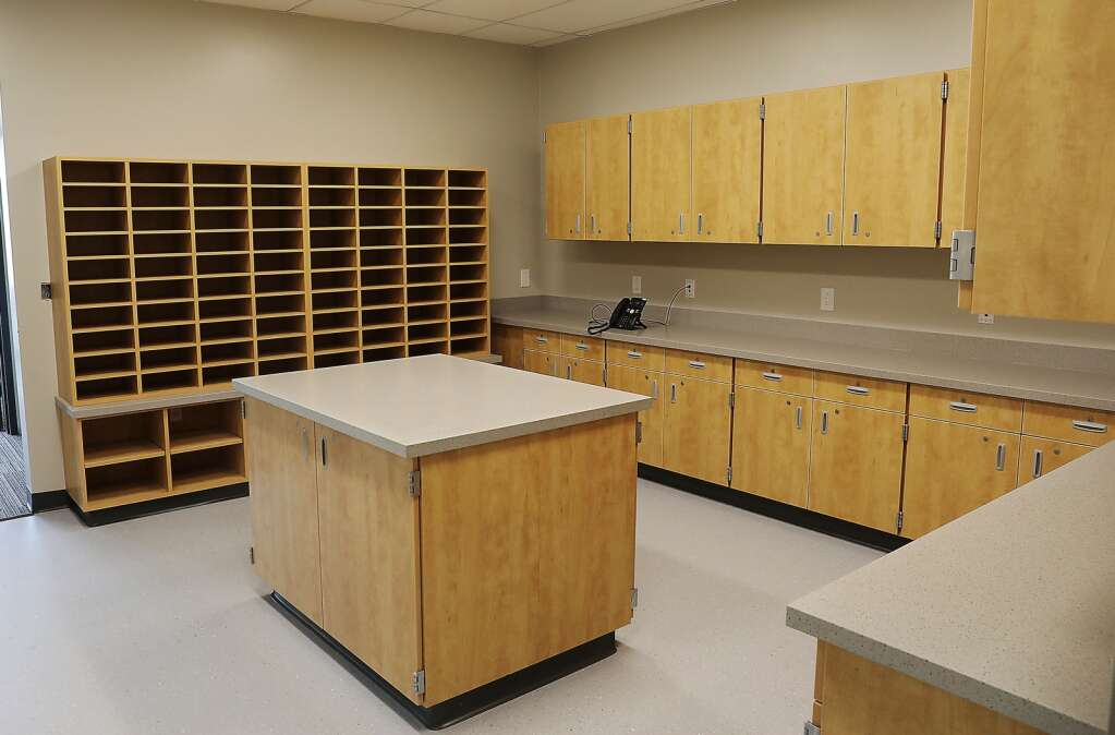 The copy room inside the new Sleeping Giant School has mailboxes for teachers, staff and plenty of work space. (Photo by John F. Russell)