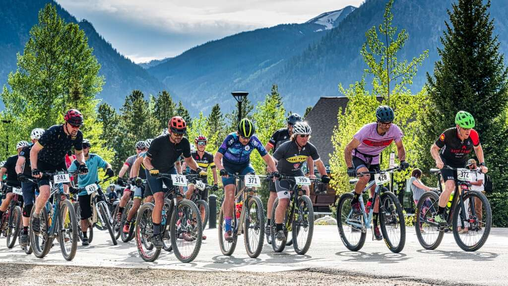 Racers depart from the start line of the first race of the 2021 Summit Mountain Challenge race series, the Frisco Roundup, at the Frisco Peninsula Recreation Area in Frisco on Wednesday.   Photo by Joel Wexler / Rocky Mountain.Photography