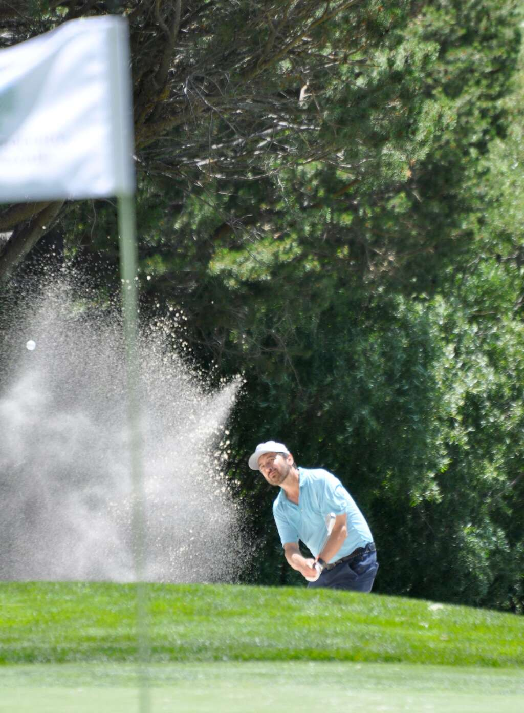 Ray Romano hits from the bunker.