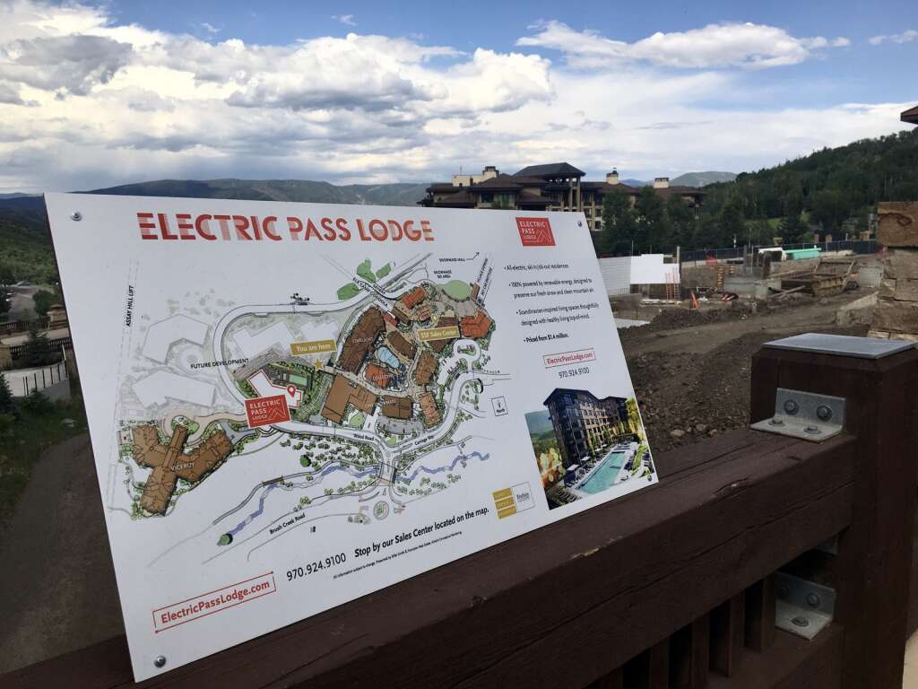 A sign marks an overlook on the site of Electric Pass Lodge, a soon-to-be-built condo building in Base Village, on July 5, 2021.  | Kaya Williams/The Snowmass Sun