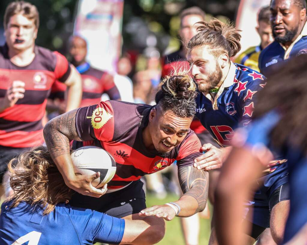 The Gentlemen of Aspen Rugby Club beat the American Raptors to win Ruggerfest 53 on Sunday, Sept. 26, 2021, on Wagner Park in downtown Aspen. Photo by Austin Colbert/The Aspen Times.