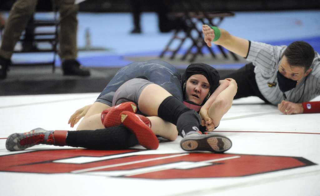 Soroco freshman Larhae Whaley got pinned by Mountain Vista junior Rosalind Ramos-Cruz in the 100-pound semifinal at the CHSAA Girls Wrestling State Championships in Pueblo on Thursday.