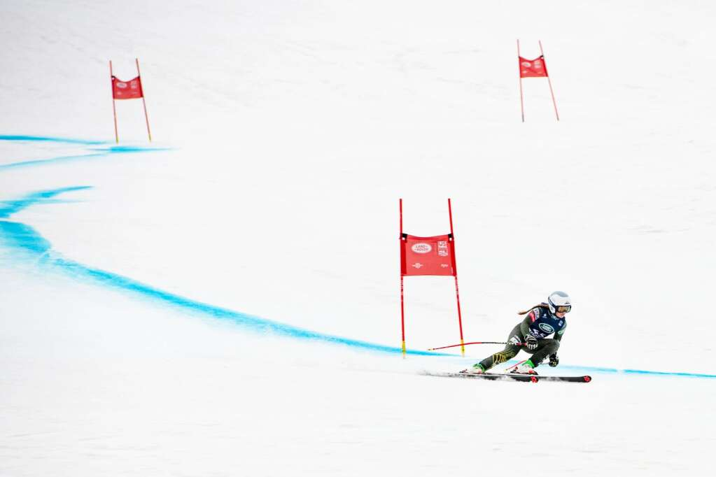 American alpine skier Allison Mollin competes in the Women's Super G National Championships at Aspen Highlands on Tuesday, April 13, 2021. (Kelsey Brunner/The Aspen Times)