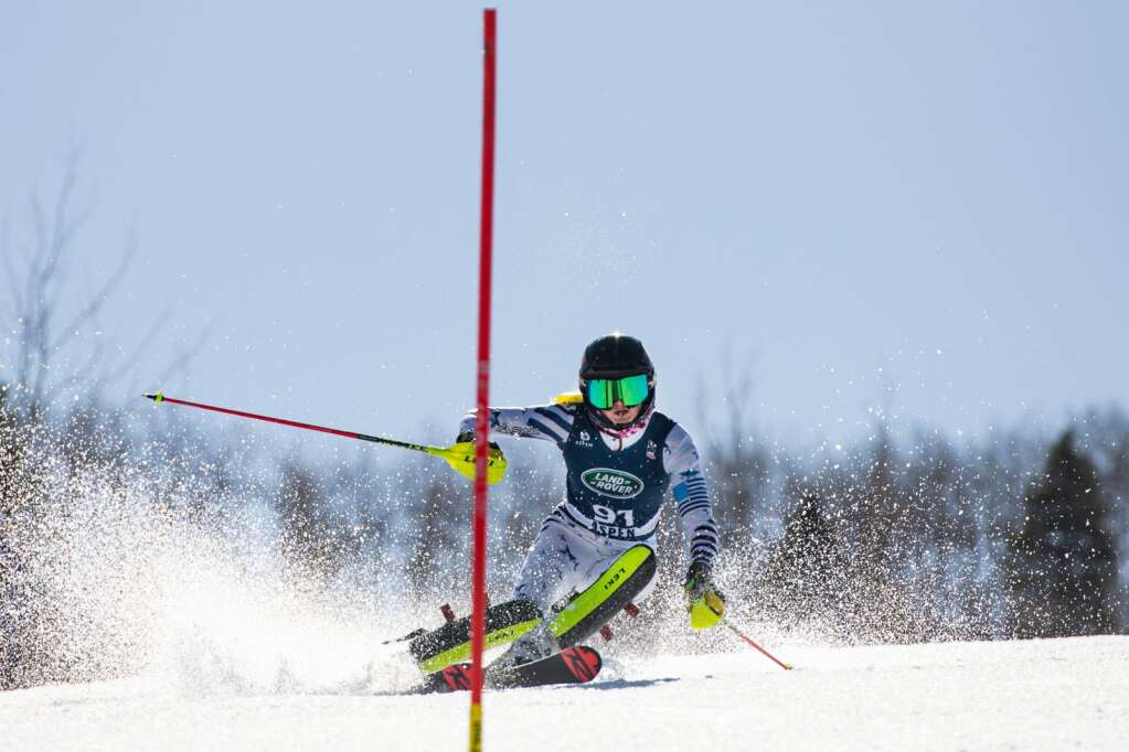 Canadian alpine skier Stefanie Fleckenstein competes in the Women's Alpine Combined FIS event at Aspen Highlands on Wednesday, April 14, 2021. (Kelsey Brunner/The Aspen Times)