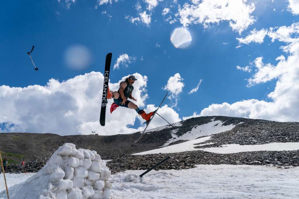 A skier sends a massive spread eagle at Fourth of July Bowl on Peak 10 at Sunday's fourth annual Peak 10 Classic. | Photo by Sage Vogt