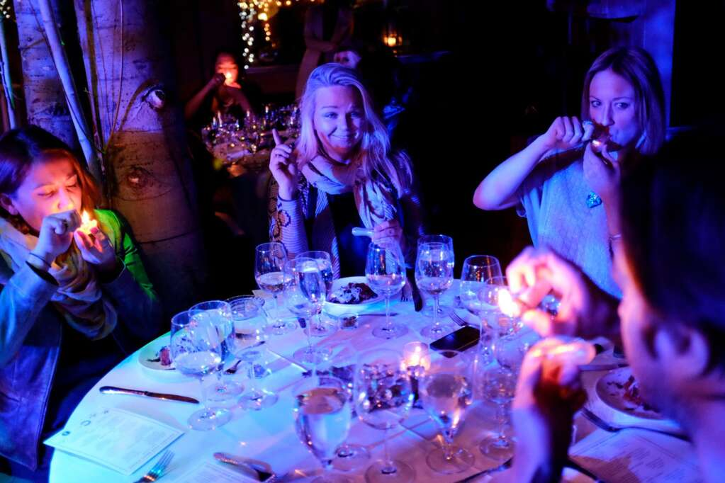 Amanda Rae (with friends) on duty at the groundbreaking cannabis pairing dinner at Crystal Palace in Aspen in January 2015. (Cultivating Spirits / courtesy photo)