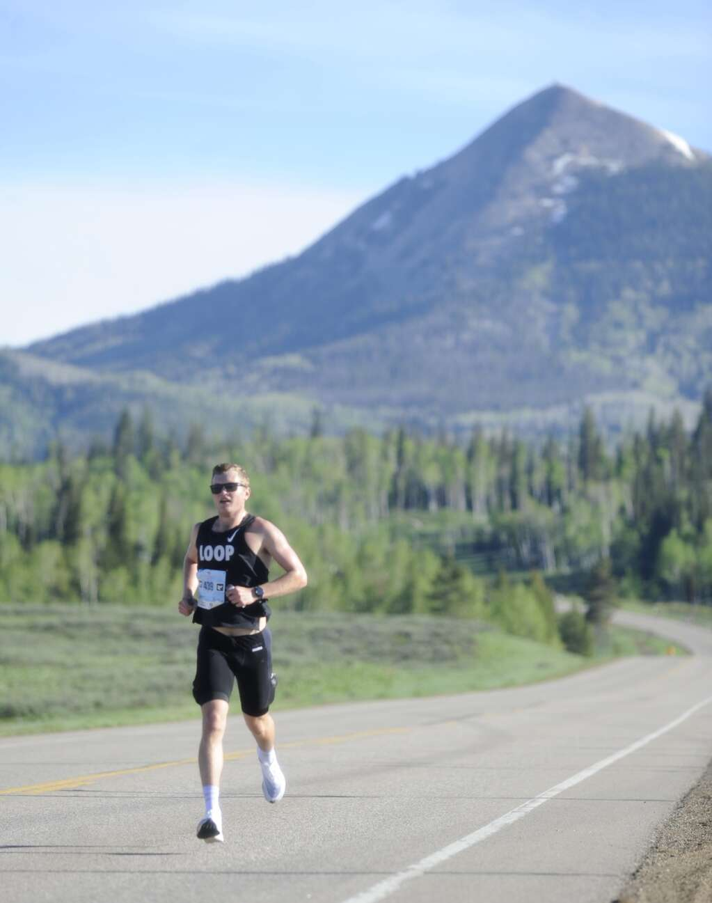 Ford Smith started out in first place in the early goings of the Steamboat Marathon on Sunday morning. (Shelby Reardon)