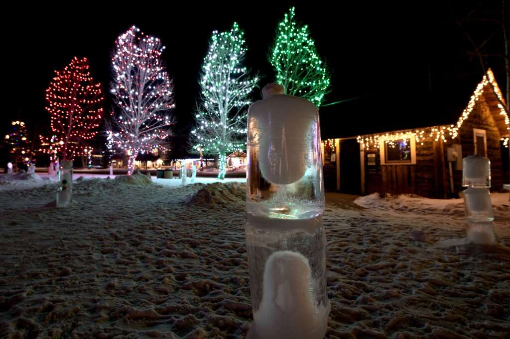 Ice sculptures are illuminated as part of the Make Frisco Arts Collective Winter Light exhibit at Frisco Historic Park & Museum on Tuesday, Jan 19. | Photo by Jason Connolly / Jason Connolly Photography
