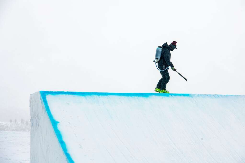 The second jump on the slopestyle course is prepared for the final events during the X Games 2021 Aspen at Buttermilk on Saturday, Jan. 30, 2021. (Kelsey Brunner/The Aspen Times)