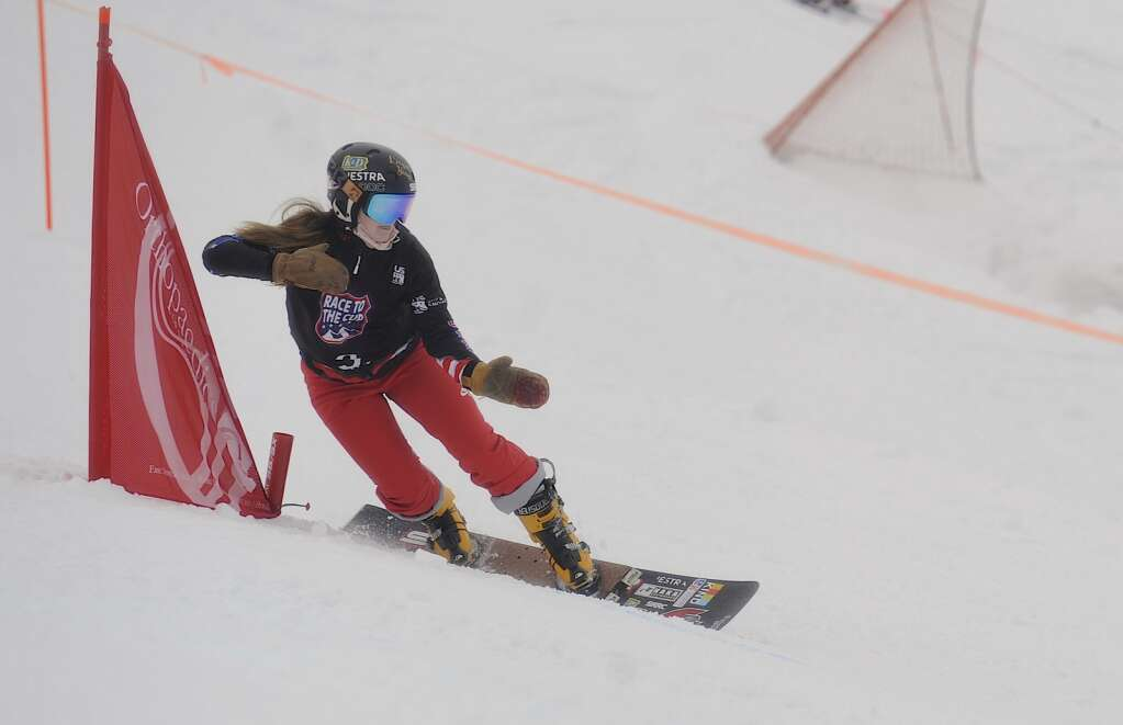 Kaiya Kizuka of Ski Roundtop Racing Club took second at the women's parallel slalom Race to the Cup event at Howelsen Hill on Saturday. (Photo by Shelby Reardon)