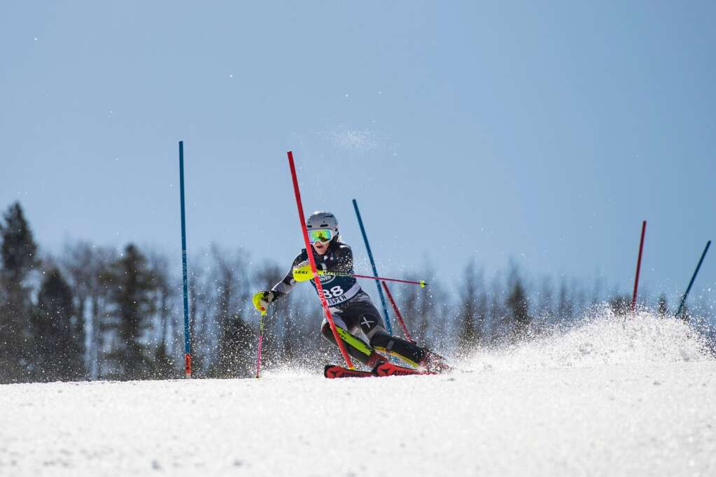 American alpine skier Storm Klomhaus competes in the Women's Alpine Combined FIS event at Aspen Highlands on Wednesday, April 14, 2021. (Kelsey Brunner/The Aspen Times)