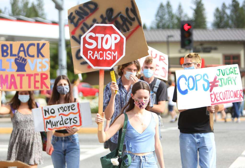 Protesters young and old took to the streets across the nation over the weekend, including in Grass Valley where about 100 people with signs gathered at the intersection of Brunswick and Sutton Way May 30. The nation wide demonstrations were sparked by the killing of George Floyd at the hands of Minneapolis Police Officer Derek Chauvin. | Photo: Elias Funez