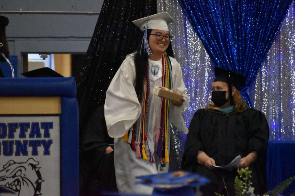 Lauren Hilley receives her award for Outstanding Female Senior in the Class of 2021. (Joshua Carney / Craig Press)