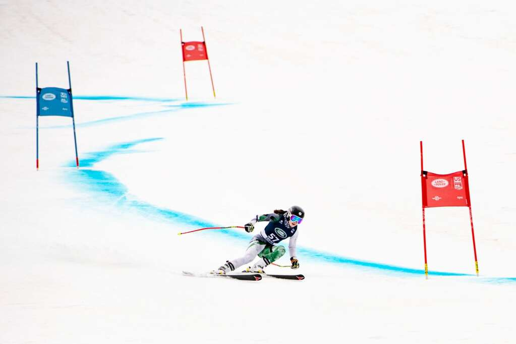 American alpine skier Gwen Wattenmaker competes in the Women's Super G National Championships at Aspen Highlands on Tuesday, April 13, 2021. (Kelsey Brunner/The Aspen Times)
