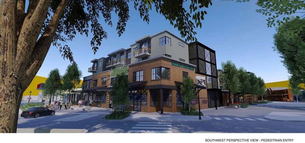 A redevelopment plan for property in downtown Basalt features 70 apartments and a grocery store.