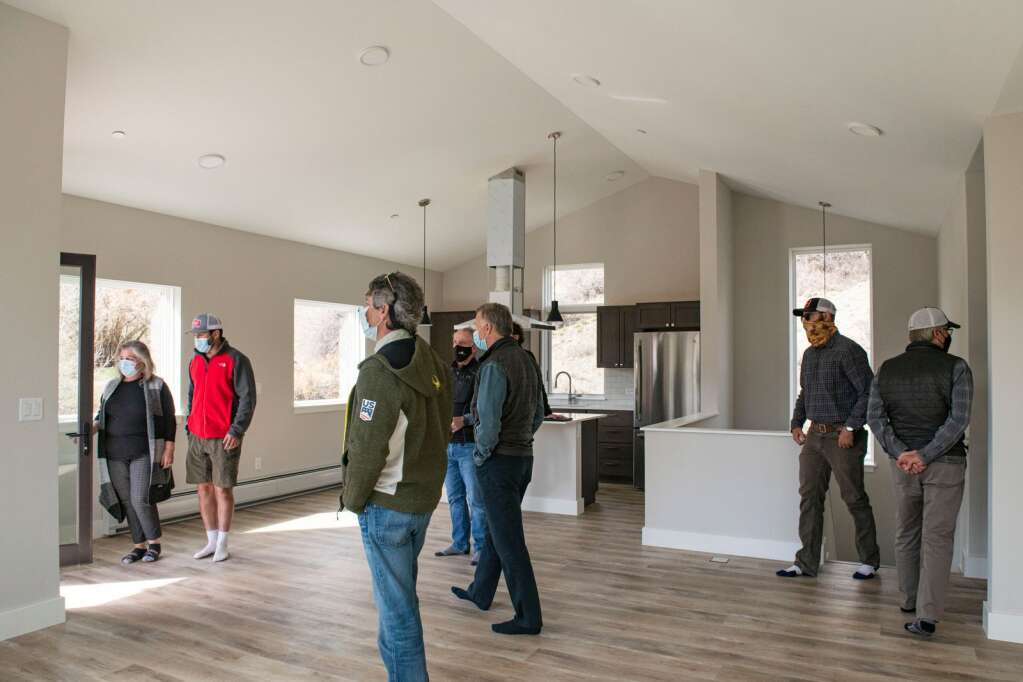 Snowmass Town Council tour one of the fifteen Coffey Place workforce housing units in Snowmass Village on Monday, April 12, 2021. (Kelsey Brunner/The Aspen Times)
