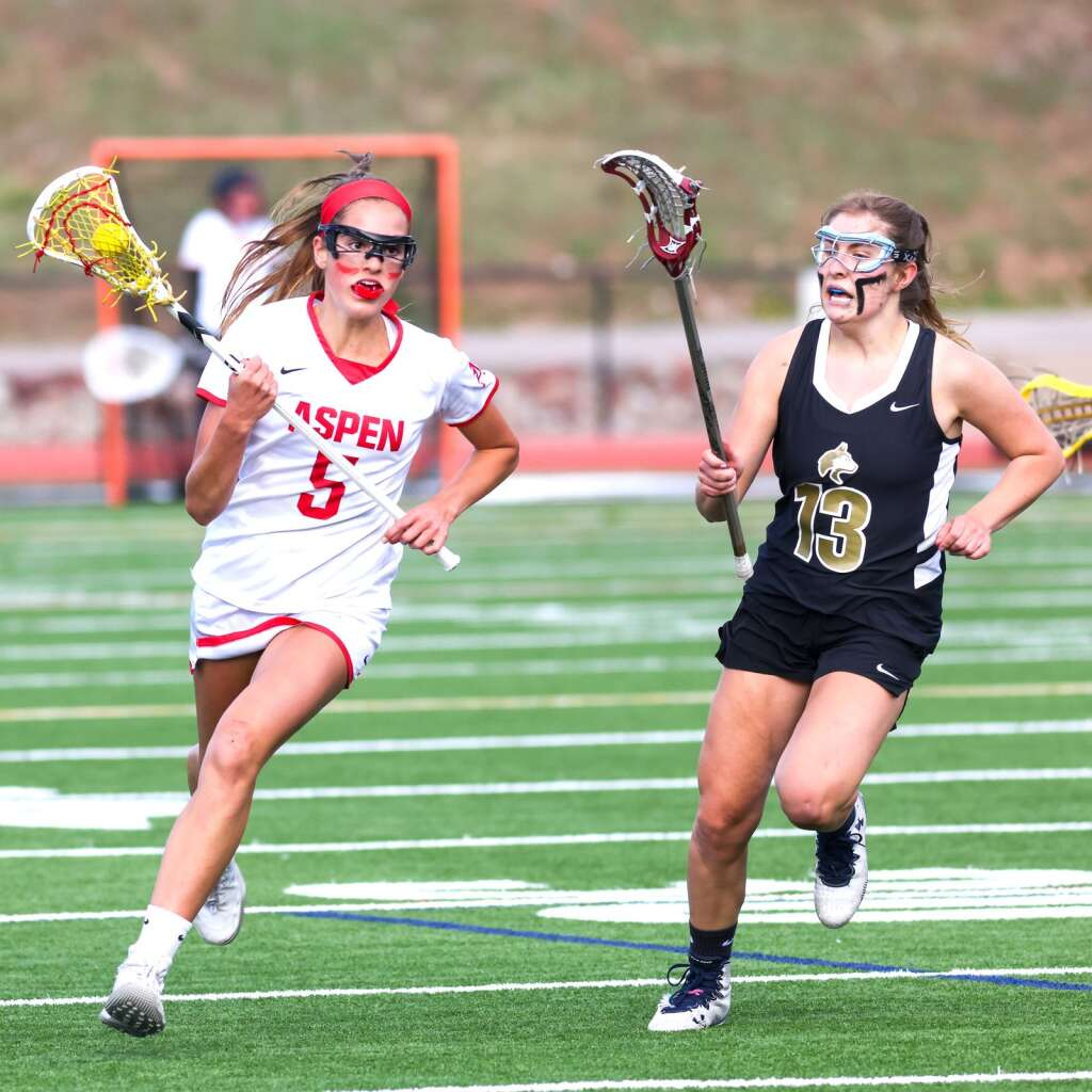 Aspen High School girls lacrosse player Kylie Kenny brings the ball upfield against Battle Mountain on Wednesday, May 12, 2021, on the AHS turf. The Skiers won, 8-6. Photo by Austin Colbert/The Aspen Times.