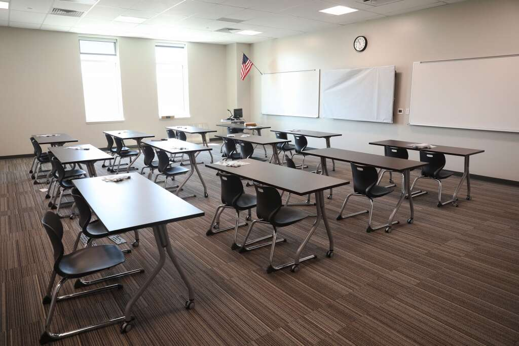 A classroom in the middle school side of the new Sleeping Giant School. (Photo by John F. Russell)