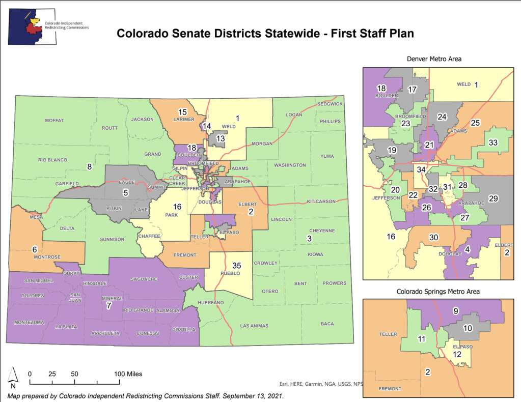 The first proposed Colorado Senate district map puts Summit County in Senate District 5. | Colorado Independent Congressional Redistricting Commission/Courtesy map