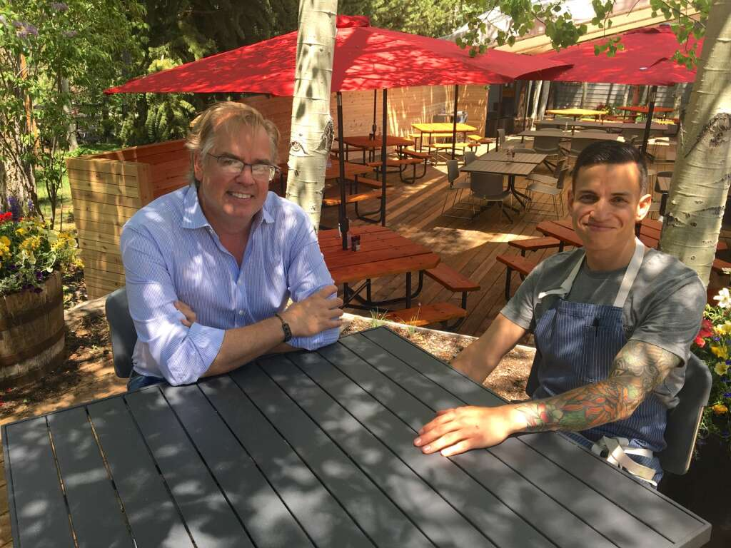 Anderson Ranch Arts Center Food and Beverage Director Rob Ittner (left) and chef Daniel Leon pause outside the on-campus cafe on Monday, June 7, 2021. | Kaya Williams/The Snowmass Sun
