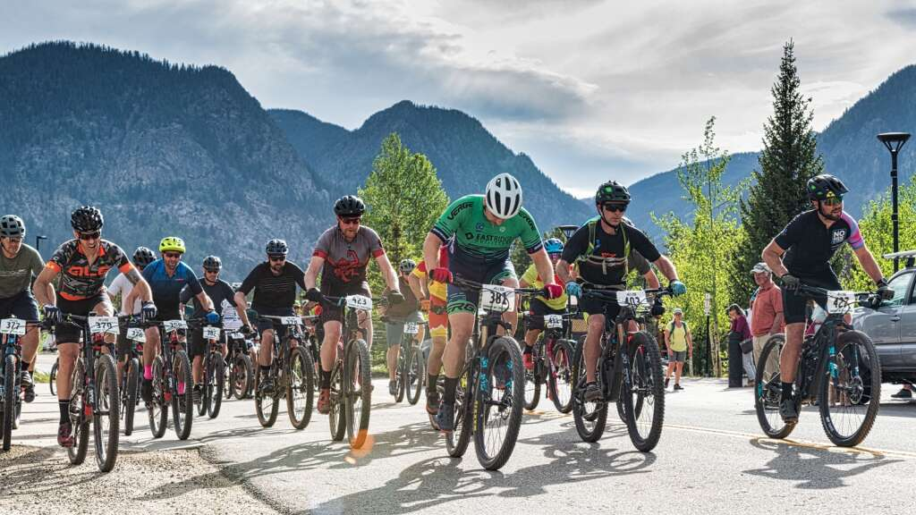 Racers depart from the start line at the Frisco Peninsula Recreation Area at the Frisco Roundup, the first Summit Mountain Challenge race of the summer, on Wednesday in Frisco.   Photo by Joel Wexler / Rocky Mountain.Photography