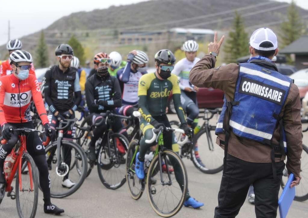 The race course is briefly explained to the men's pro field during the 2021 Steamboat Roubaix on Saturday, May 8. (Photo by Shelby Reardon)