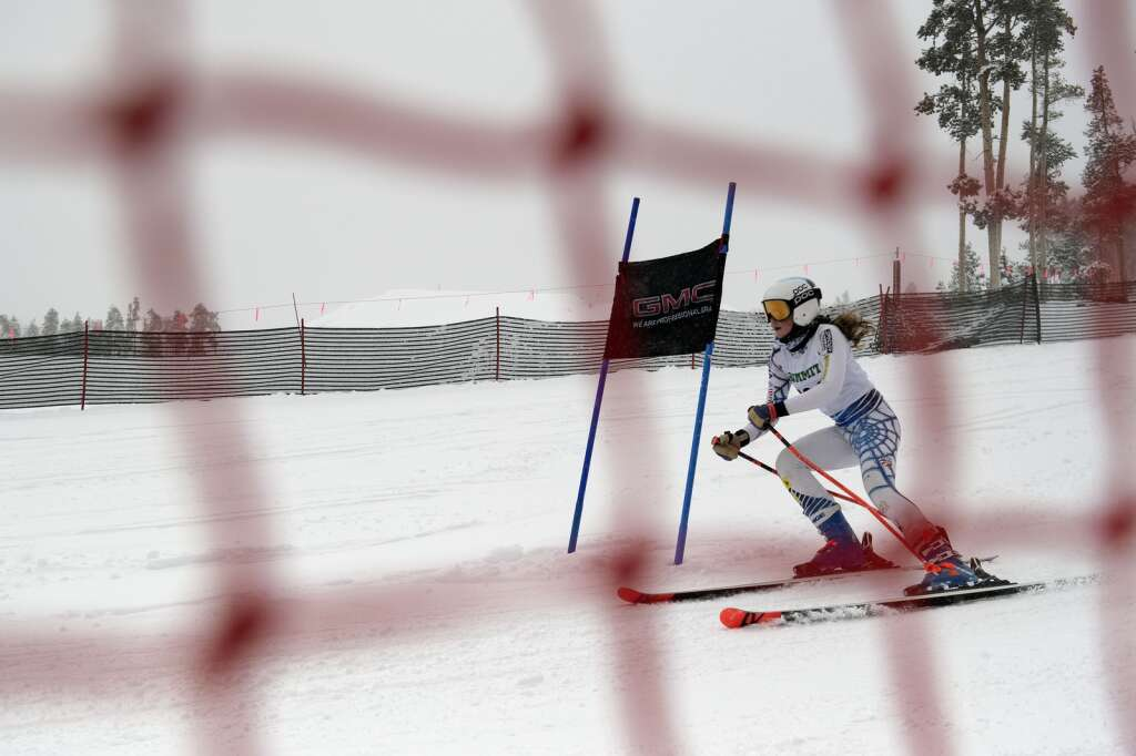 Summit High School Alpine ski team racer Camille Thompson competes in giant slalom during a ski competition at Keystone Resort on Friday, Feb. 5, 2021. | Photo by Jason Connolly / Jason Connolly Photography