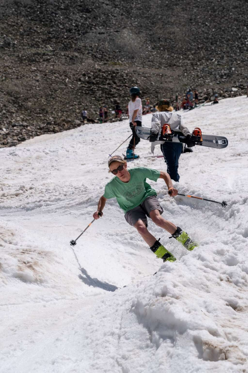 Skiers and riders negotiate the snake run at Fourth of July Bowl on Peak 10 at Sunday's fourth annual Peak 10 Classic. | Photo by Sage Vogt