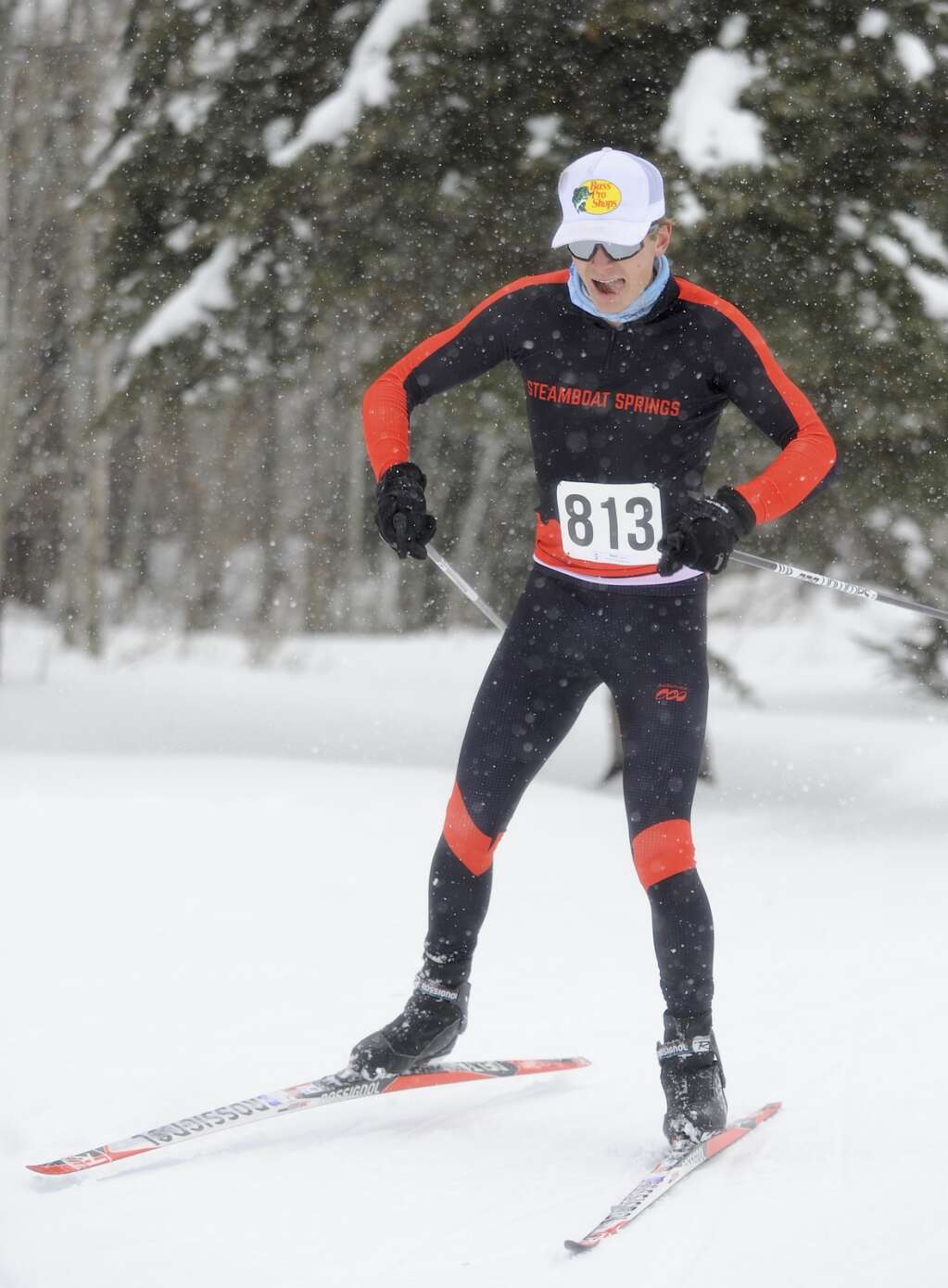 Steamboat Springs Nordic skier Jameson Tracy enjoys the snow at a home race at the Steamboat Ski Touring Center on Friday afternoon. (Photo by Shelby Reardon)