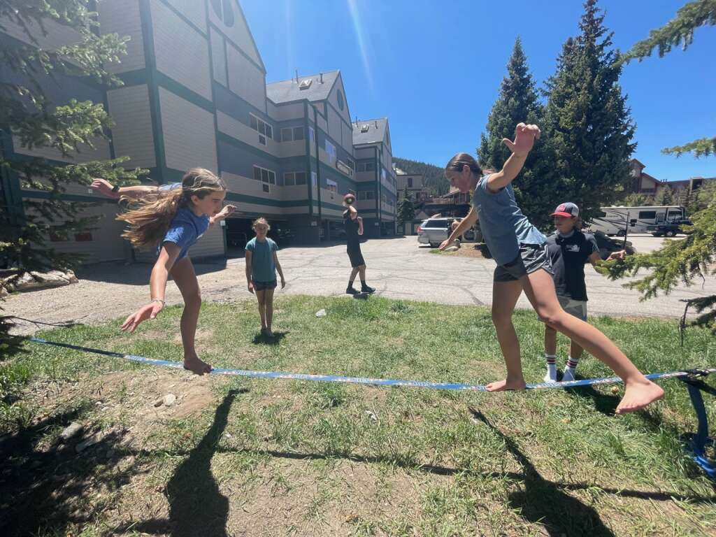 Steamboat Springs Winter Sports Club Alpine skiers at the U14, U16 and FIS levels have been extending winter by training at Copper Mountain. When they're not taking advantage of the snow on the top of the resort, they're doing dry land training and fun activities like slack lining.