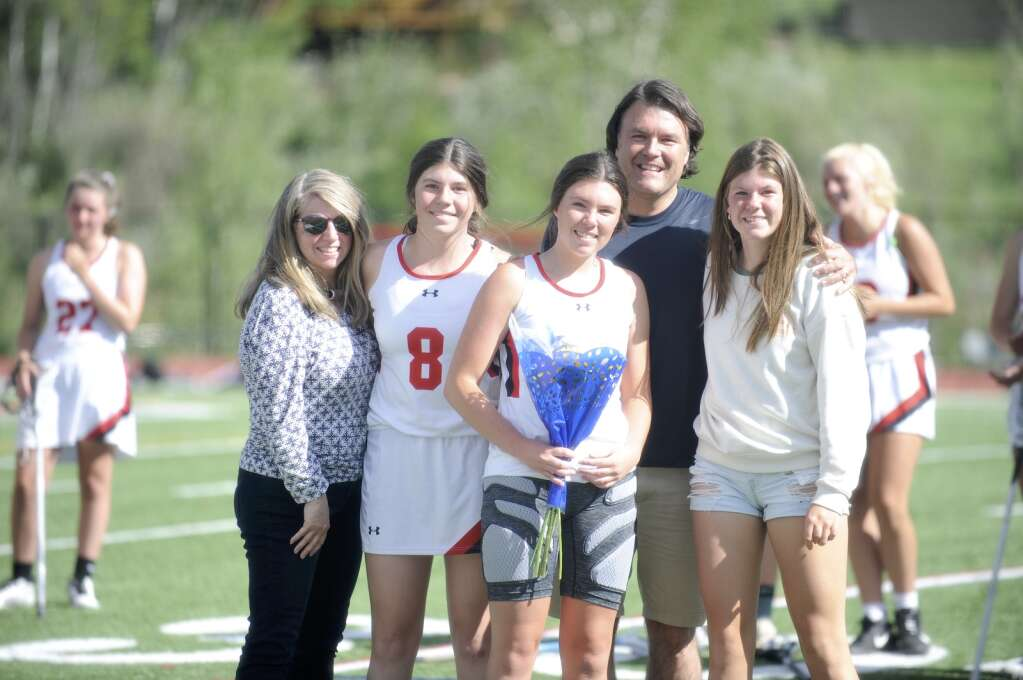 Steamboat Springs senior Margot Schmitz was honored for senior night during halftime of a game against Eagle Valley at Gardner Field on Thursday night. (Shelby Reardon)