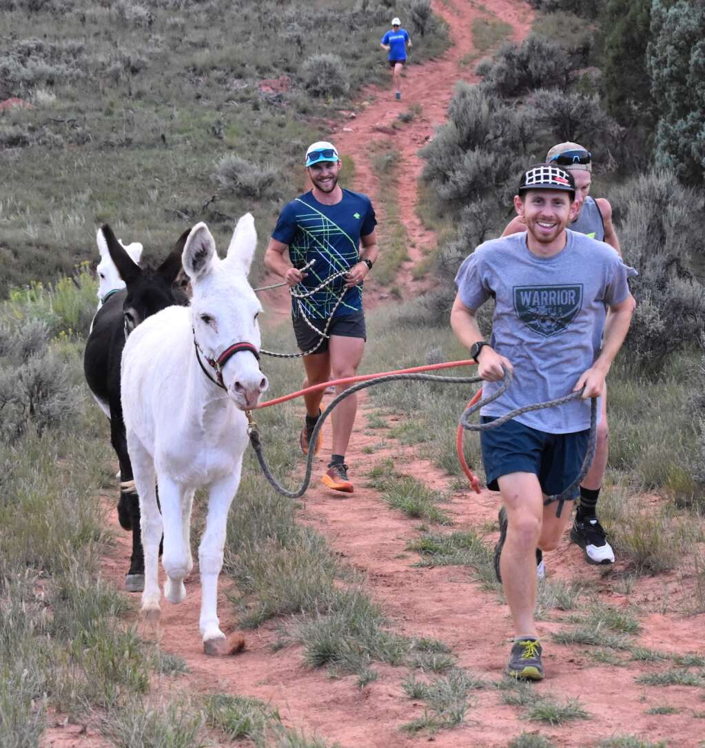 Runners lead Ellis, Addie and Charleston along the Sutey Ranch Trail during the Independence Run & Hike burro run on Aug. 26, 2021. | Tami Stroud/Courtesy photo