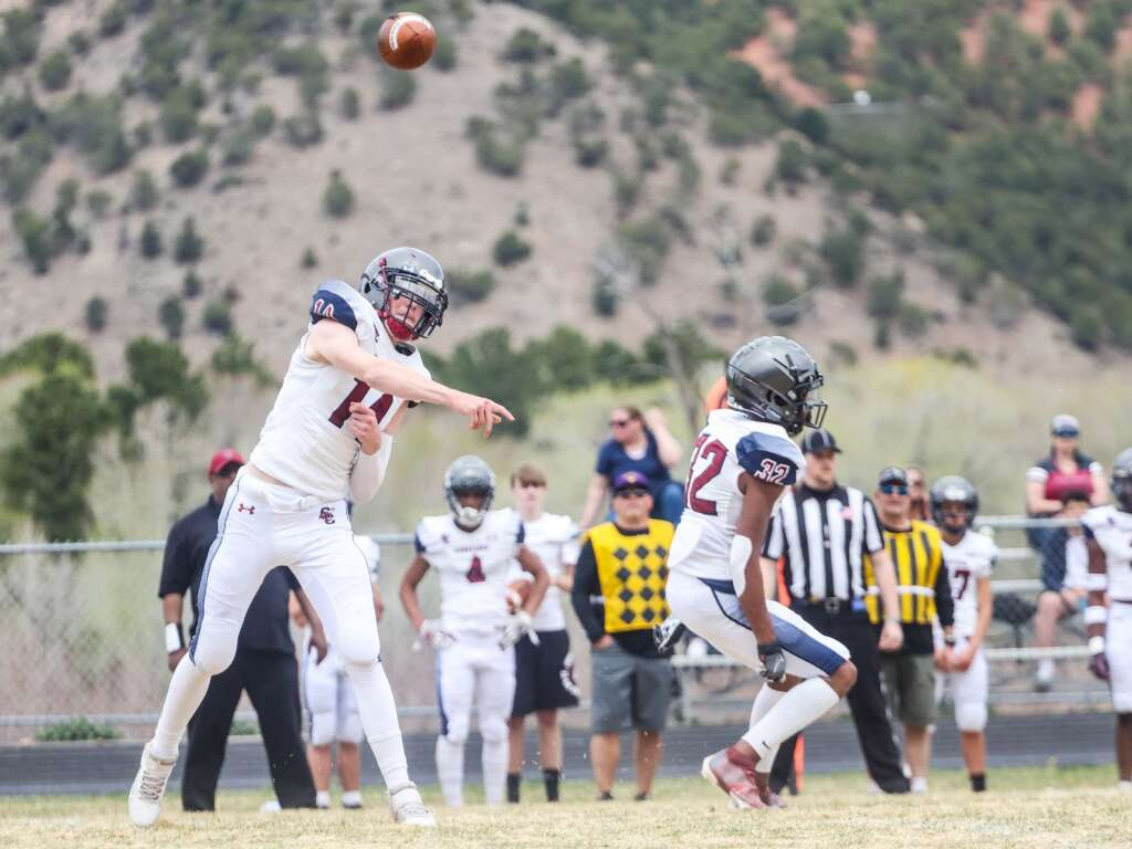 Sand Creek quarterback Caleb Kruse throws against Basalt in the Class 3A state quarterfinals on Saturday, May 1, 2021, in Basalt. The Scorpions won, 27-22. Photo by Austin Colbert/The Aspen Times.