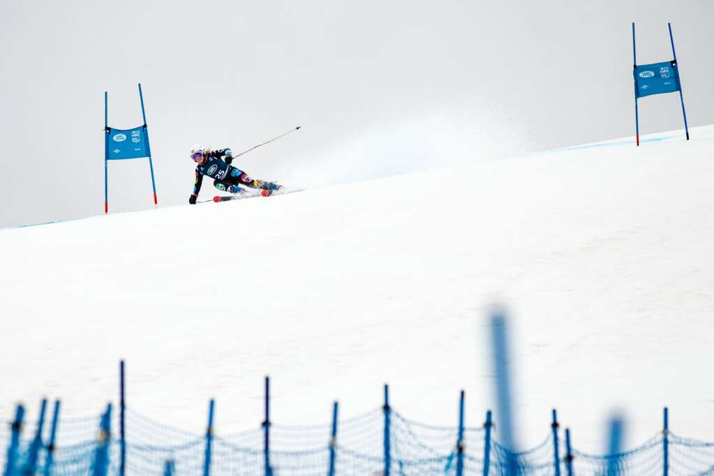Mexican alpine skier Sarah Schleper makes turns during the first run of the Women's Giant Slalom National Championship at Aspen Highlands on Thursday, April 15, 2021. (Kelsey Brunner/The Aspen Times)