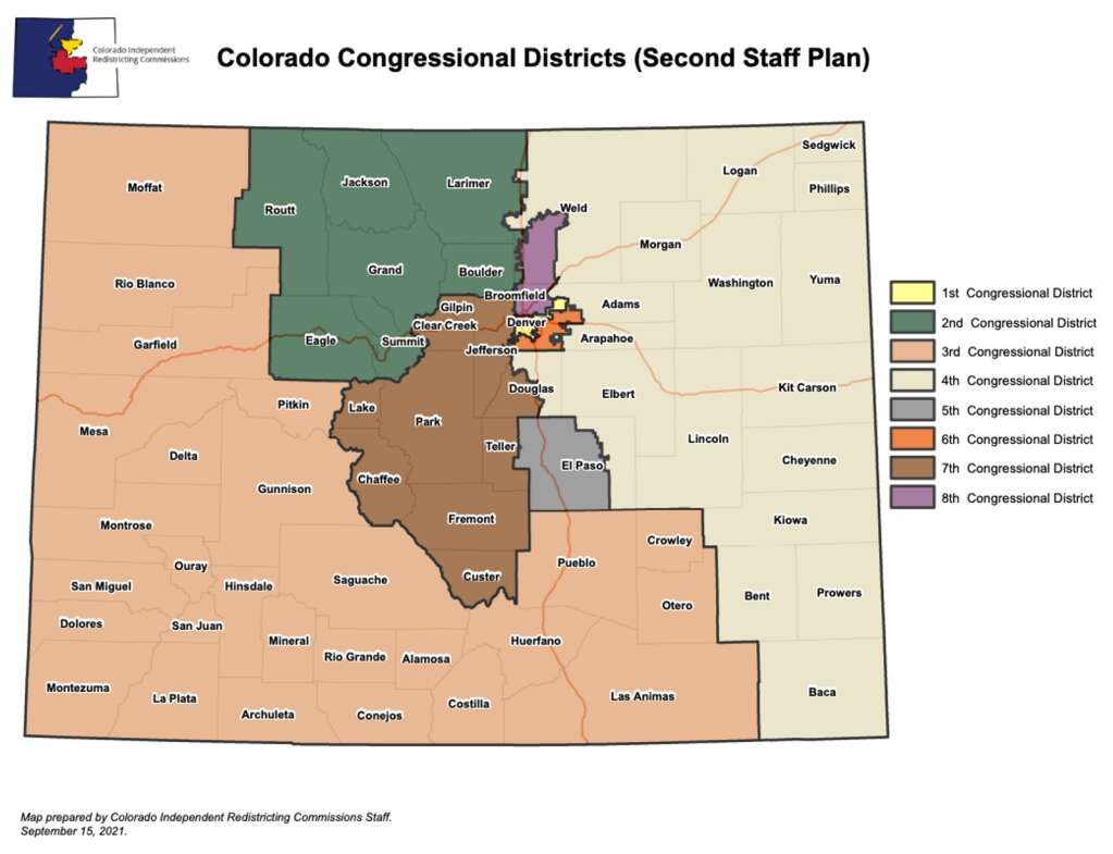 The second staff plan map from the Colorado Independent Congressional Redistricting Commission, released on Sept. 15. | Colorado Independent Congressional Redistricting Commission/Courtesy