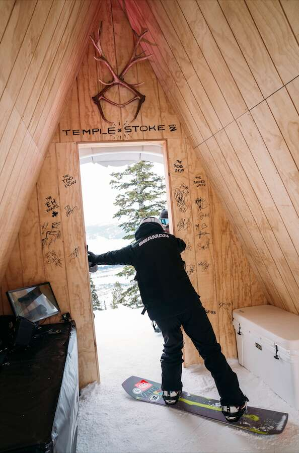 Hanna Beaman prepares to drop into the Natural Selection course from the Temple of Stoke structure at the top of the course during Tuesday's final round at Jackson Hole Mountain Resort in Jackson, Wyoming. | Photo by Leslie Hittmeier / Red Bull