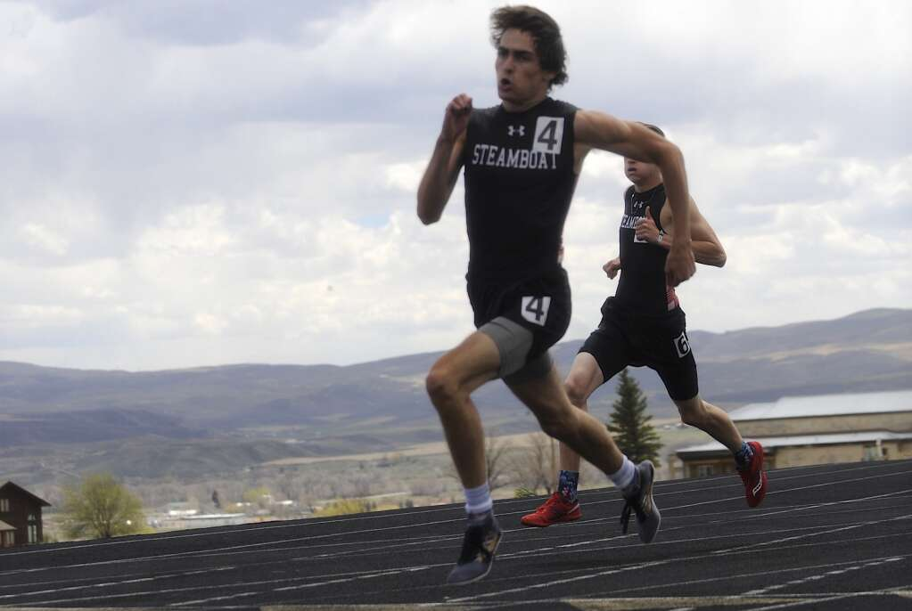 Steamboat Springs Thomas Lewer competes in the 400-meter dash at the Clint Wells Invitational in Craig on Friday. (Photo by Shelby Reardon)
