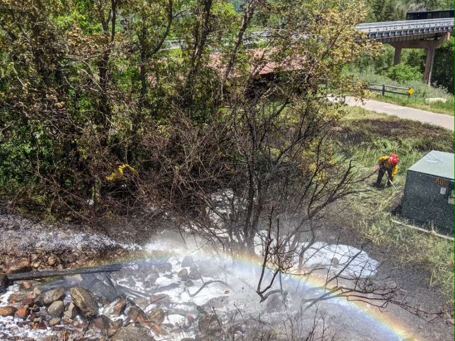 Aspen Fire Protection District crews respond to a small fire that broke out near the Castle Creek bridge and Marolt Open Space just west of Aspen on Sunday, June 13, 2021.   Charlie Curtis, Aspen Fire/Courtesy photo