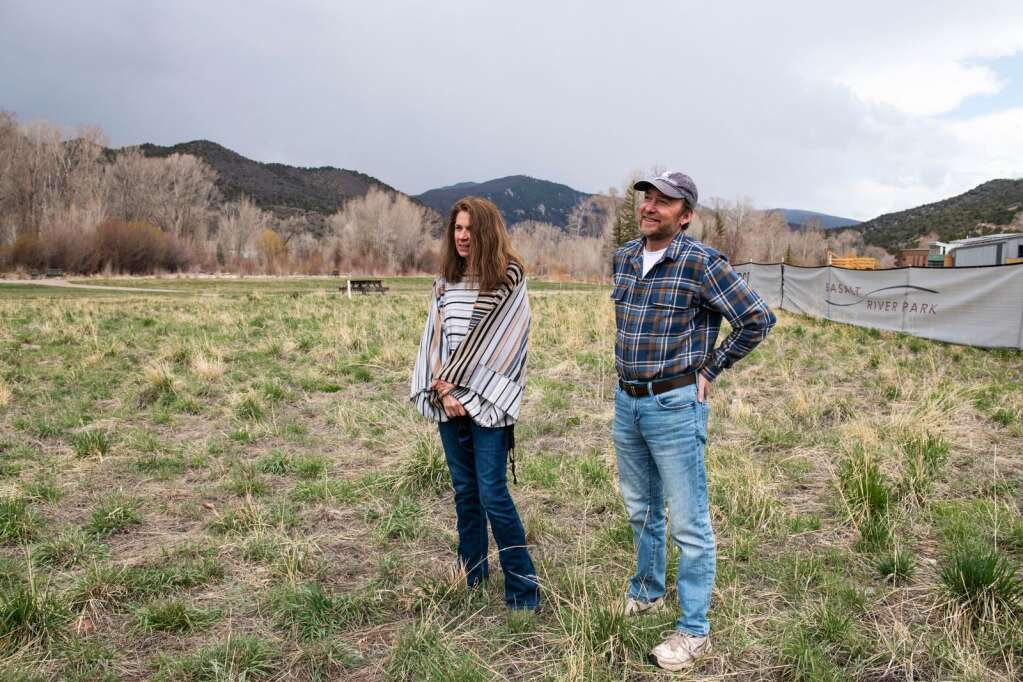 Robin Humble and Steve Humble stand in the lot of their new location for their restaurant in Basalt on Friday, April 23, 2021. (Kelsey Brunner/The Aspen Times)