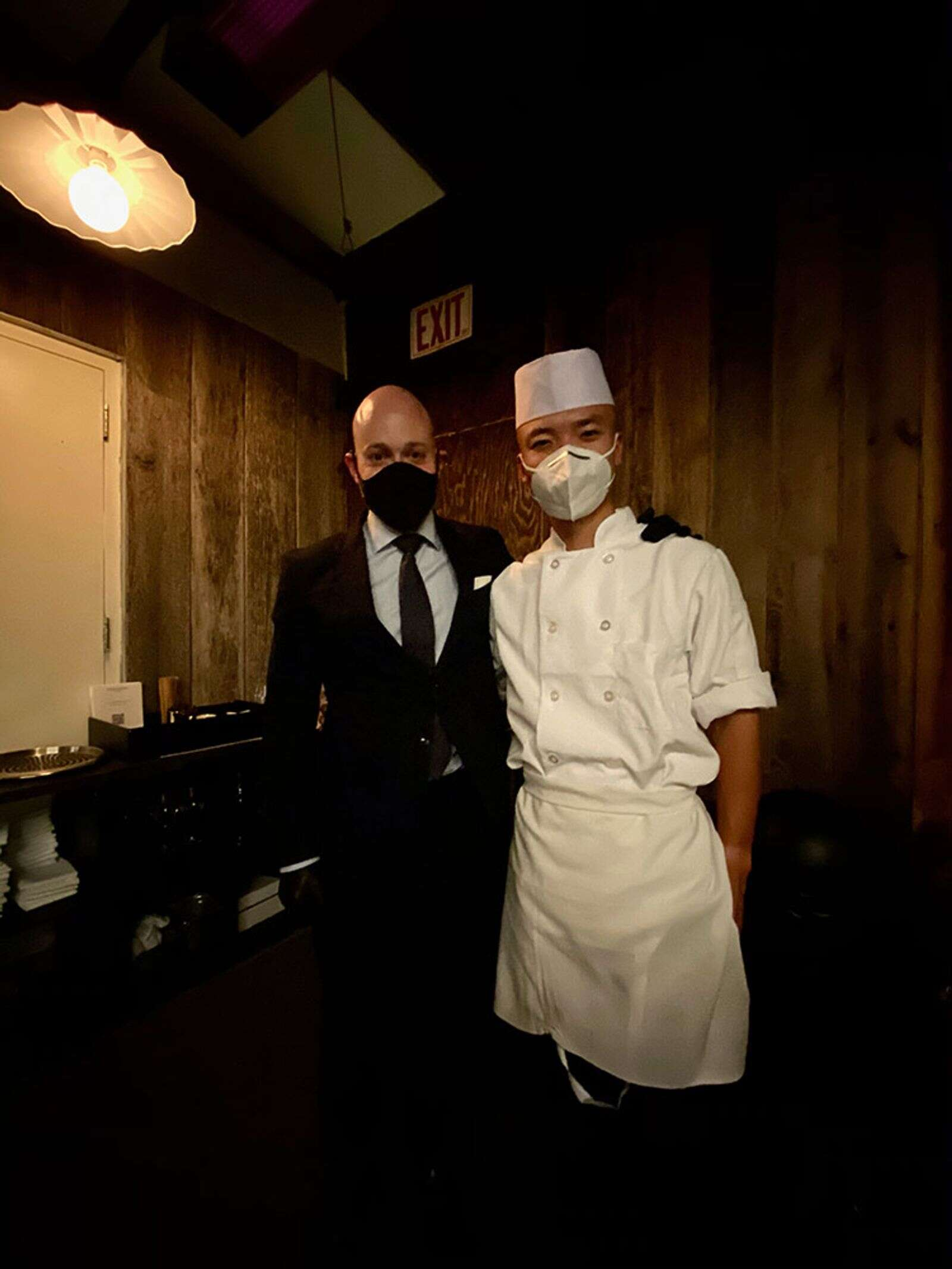 Sushi Nakazawa beverage director Dean Fuerth and chef Wei Chen.